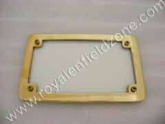 LICENSE PLATE WITH BRASS FRAME