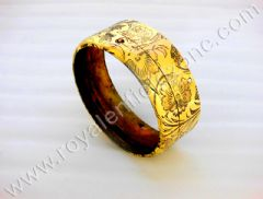 BRASS HEAD LAMP RING ENGRAVED