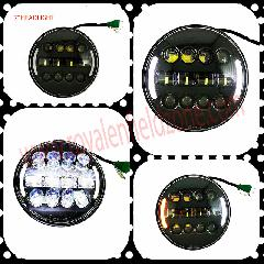 7 Inch Fancy LED Headlight with amber Turning Signal Lights