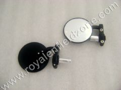 BAR END MIRRORS ROUND IN BLACK