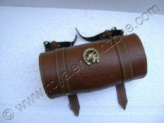 BROWN TOOL BAG ROUND WITH BRASS MONO