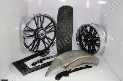 WHEEL KIT FOR FAT TYRE WITH RAW POINTED MUDGUARD