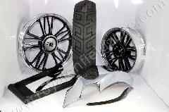 WHEEL KIT FOR FAT TYRE WITH CHROME ANCHOR MUDGUARD