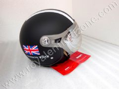 BEON HALF HELMET IN MATT BLACK WITH WHITE STRIPES