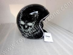 DESIGNER SHINING BLACK HALF HELMET WITH INBUILT GLARES